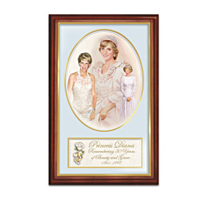 Framed Princess Diana 50th Birthday Tribute Print On Canvas