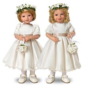 """""""The Royal Flower Girls"""" Bisque Porcelain 2-Doll Set"""