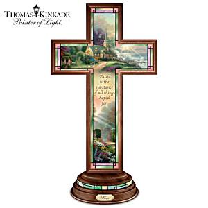 """Thomas Kinkade Illuminated Stained Glass-Style """"Hope Cross"""""""