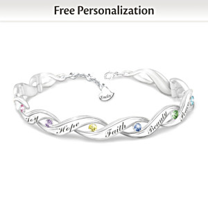 """""""Wishes For My Daughter"""" Personalized Crystal Bracelet"""