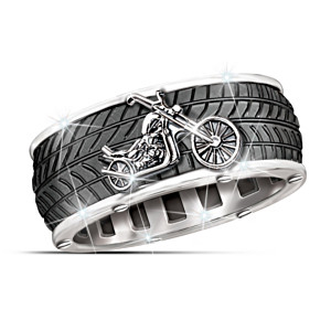Motorcycle Men's Ring With Spinning Center Band