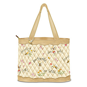 Bumble Bee Art Tote Bag With FREE Cosmetic Case