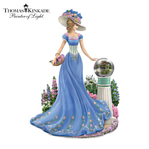 Victorian Lady Figurine With Thom's Art In Reflective Ball
