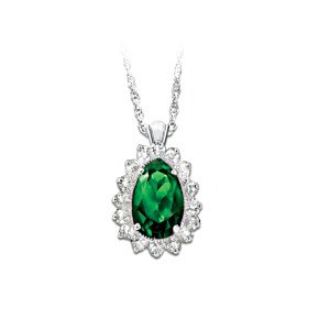 Diamonesk Pendant Necklace With Simulated Teardrop Emerald