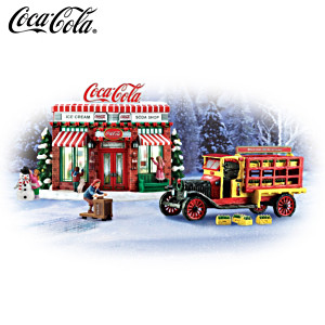 COCA-COLA Vintage Delivery Truck And Soda Shop Sculpture Set