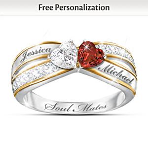 """Two Hearts Become Soul Mates"" Topaz & Garnet Engraved Ring"