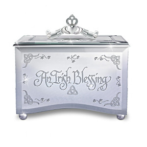 """Reflections Of An Irish Blessing"" Mirrored Music Box"