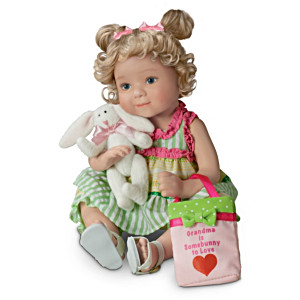 Porcelain Granddaughter Doll With FREE Plush Bunny And Purse