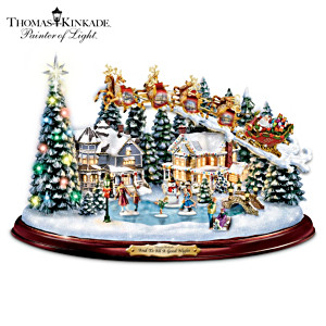 Thomas Kinkade Illuminated Musical Village With Motion