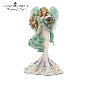 "Thomas Kinkade Angel Figurine With ""Art Gazing Ball"""