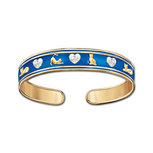 """Cats Fill A Heart With Love"" Enamel Bracelet With Crystals"