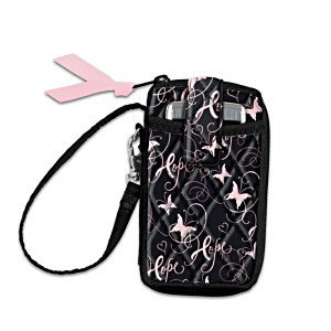 """Ribbons Of Hope"" Breast Cancer Support Quilted Wristlet"
