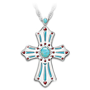 """Sacred Blessings"" Turquoise Pendant Necklace"