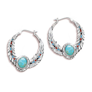 """""""Sedona Sky"""" Turquoise Earrings With Eagle Feather Design"""