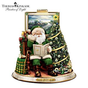 Irish-Themed Thomas Kinkade Talking Santa Claus Sculpture