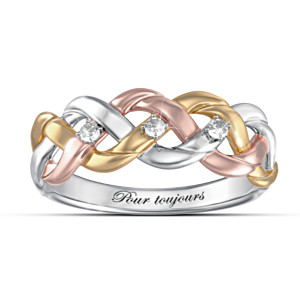 Three-Cord Tri-Colour Diamond Christian Ring