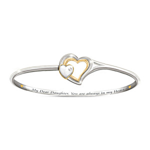 Heart Engraved Diamond Bracelet For Daughter