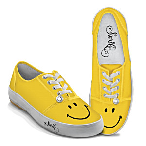 """Yellow """"Smile"""" Women's Art Sneakers With Sculpted Charms"""
