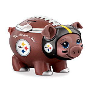 Pittsburgh Steelers Porcelain Football Piggy Bank