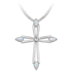 Opal And Diamond Sterling Silver Cross Pendant Necklace