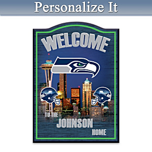 Seattle Seahawks Wooden Welcome Sign Personalized With Name