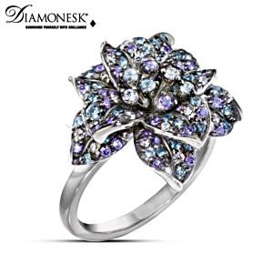 """""""Midnight Rose"""" Diamonesk Women's Cocktail Ring"""