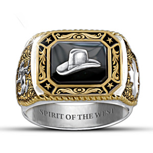 """Spirit Of The West"" Canadian Pride Engraved Men's Ring"