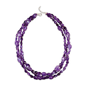 """Amethyst Treasure"" Three-Strand Women's Necklace"