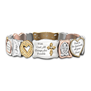 """Faith Is Believing"" Inspirational Artisan Stretch Bracelet"