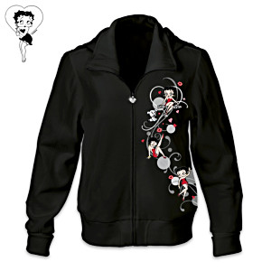 Betty Boop Women's Hoodie With Heart-Shaped Zipper Pull