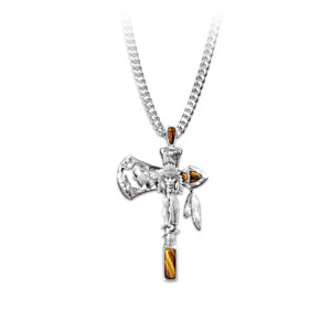 """Warrior Spirits"" Tiger's Eye Tomahawk Pendant Necklace"