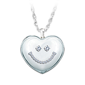 Crystal Smiling Face Pendant Necklace For Granddaughter