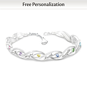 Personalized Engraved Crystal Bracelet For Granddaughters