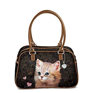 Jürgen Scholz Cat Art Handbag With Leather Straps