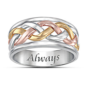 Three-Cord Tri-Color Religious Men's Ring