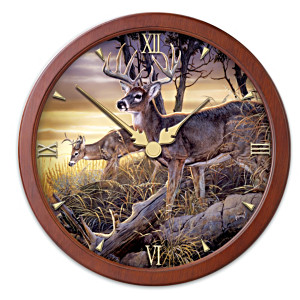 Al Agnew Transitioning Stained-Glass Wildlife Wall Clock