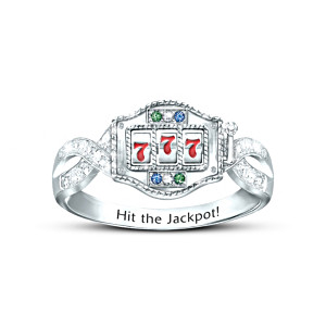 """Lucky Jackpot"" Crystal Ring With Spinning Slot Machine"