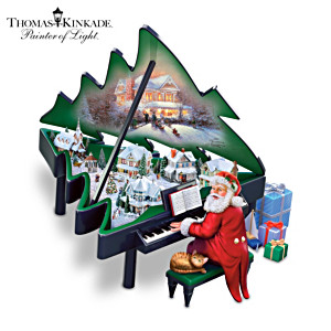 Thomas Kinkade Santa And Piano Illuminated Musical Sculpture