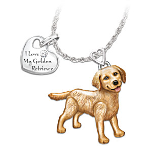 Golden Retriever Diamond Necklace With Movable Legs And Tail