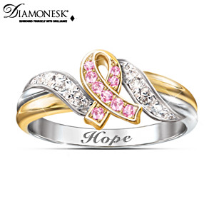 """Hope's Embrace"" Breast Cancer Support Engraved Ring"