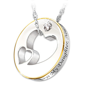 Always My Daughter Engraved Diamond Necklace With Poem