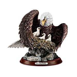 """Guiding Wings"" Lifelike Bald Eagle And Eaglets Sculpture"