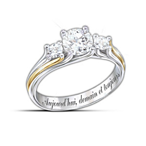 """Je suis a toi"" Engraved White Topaz Couples Ring"