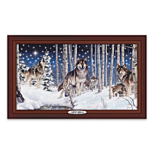 Al Agnew Illuminated Framed Wolf Art Canvas Print