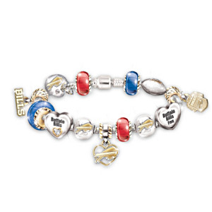 Buffalo Bills Charm Bracelet With Swarovski Crystals