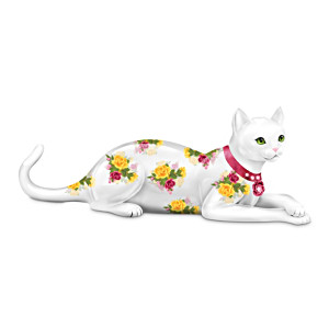 English Rose-Patterned Cat Figurine With A Swarovski Crystal