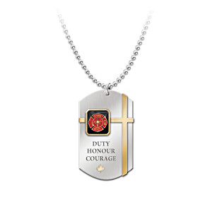 Canadian Firefighter Pendant Necklace With Black Onyx Stone