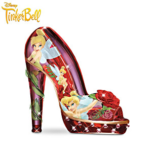Tinker Bell Art Glass Shoe Figurine With Simulated Gems