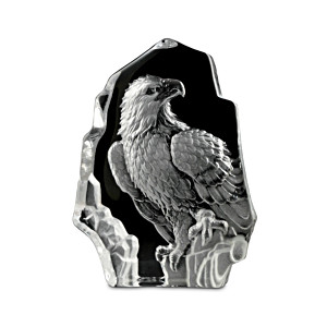 Richly Faceted Eagle Sculpture Handcrafted Of Etched Glass