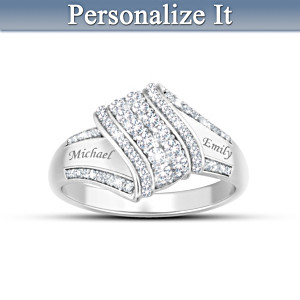 "Personalized ""Reflections Of Love"" 12-Diamond Couples Ring"